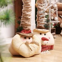 Wholesale Large Doll Heads - Large Head Retractable Santa Claus Snowman Figurine Cheap Artificial Christmas Tree Ornaments Kids Christmas Gifts Dolls Toys 1pcs lot