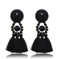 Wholesale Chandelier Thread - Women's Thread Long Tassel Earrings Black Rhinestone Long Drop Statement Fringe Earrings Vintage Party jewelry Accessories