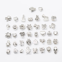 Wholesale 40 Styles Big Hole Loose Beads charms Fashion silver metal european skull square beads for Bracelets Necklaces jewelry making