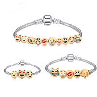 Wholesale Fun Bracelets - Animals Emoji Faces Charms Bracelets With 10 Pieces Enamel Cartoon Animal Emoji Fun Face Beads Party Favors Gift Free Shipping