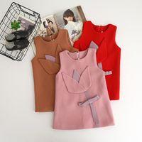 Wholesale Wool Vests Wholesale - Autumn Girls Flower Dresses Baby Girls Woolen Sleeveless Dress Kids Girls Fashion Vest Dress 2017 Baby Clothes