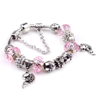 Wholesale fish holes - Retro fish Charm Bracelet 925 Silver Women Bracelets Glass&Crystal chain Bangle cuff Fashion Jewelry Gift Big hole bead Bracelet