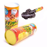 Wholesale jumping animals toys - Wholesale-April Fool Day Halloween Party Decoration Funny Joke Toys Potato Chip Can Jump Spring Snake Toy Gift Jokes Prank Trick