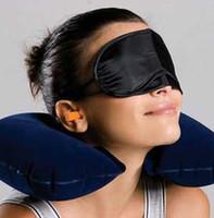 Wholesale Eyes Inflatables - Wholesale 3in1 Travel Office Set Inflatable U Shaped Neck Pillow Air Cushion + Sleeping Eye Mask Eyeshade + Earplugs,Opp Packing