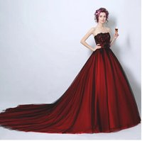 Wholesale Lace Toast - Cheap Real Image Wine red Sweetheart Lace Strapless The princess bride Wedding Dress Floor Length Toast Evening Gowns Embroidered Lace Up