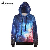 Wholesale galaxy print hoodie womens - Wholesale- Raisevern New Harajuku 3d Sweatshirt Women Hoodies Galaxy Space Both Side Print Womens Women's Galaxy Hoodies Sudaderas Mujer