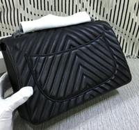Wholesale animal cell shapes online - Top quality brand design V shaped Double Flap Bag Genuine Lambskin chain Bag black Hardware Women Caviar Leather stripe Messenger Bag