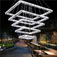 CE square chandelier pendant lamp - Square Crystal LED Ceiling Light Fixture Lighting Squares Crystal Chandeliers Stair Light Hotel Hallway Villa Living Room Pendant Lamp