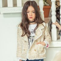 Wholesale Girls Trench Coat Princess - Girls coat children plaid wool tassel lace princess trench coat kids plaid double breasted tops windbreaker overcoats clothes R0151