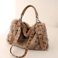 Wholesale winter cotton tote handbag - 2017 women's leather handbag fashion faux rabbit fur totes stud bags winter shoulder bag cross-body cool messenger bag rivet purse