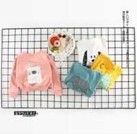 Wholesale Baby Boy Bear Jacket - INS NEW ARRIVAL boys girl 100% cotton long Sleeve V-neck dog elephant bear print outwear buttons coat baby kids fall coat 4 colors