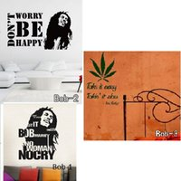 Wholesale Vinyl Sculpture - Bob Marley Figure Head Sculpture Sticker Famous Saying Quotes Vinyl Wall Decals Motivational Wall Stickers Home Decoration Free Shipping