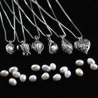 Wholesale S925 Sterling Necklace - S925 Sterling Silver Cage Pendant Accessory For Wish Pearl Silver&Gold Cage Pendant Jewelry Can Open Sterling Silver Pendant DIY necklace