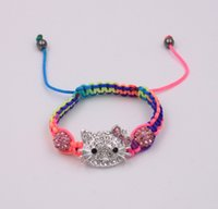 Wholesale Shamballa Kids Bracelet - Wholesale- 1pc cheap kid children colorful bracelet colour cords hello kitty shamballa bracelet free shipping