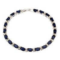 Wholesale Sterling Silver Ocean Jewelry - Free Shipping Gemstone Natural Ocean Blue Sapphire White Topaz 925 Sterling Silver Tennis Bracelets Origin Stone Women Jewelry 7 INCH