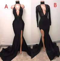 Wholesale Sweep Neck Prom Dresses - Black Split Mermaid Evening Dresses 2017 Modest 2 Styles Pluging V-neck Sweep Train Sexy African Fishtail Lace Sequins Prom Gowns Cheap
