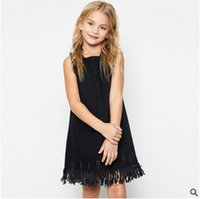 Wholesale Kids Denim Cowboy Vest Wholesale - Big Girls dresses children solid denim tassel lace dress kids hole cowboy princess vest dress 2017 new girls floral dresses 7-14T T2067