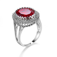 verlobungsringe rubin 18k gold großhandel-Geschenk Schmuck Ruby Diamonique Cz Vergoldet Hochzeit Verlobungsring Sz6-10