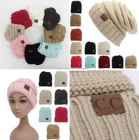 Wholesale Novelty Hand Warmers - Newest Parent-Child CC hats Baby Mum Wool Beanie Winter Knitted Hats Warm Hedging Skull Caps Hand Crochet Caps Hats B1035