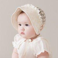 Wholesale Bonnet Enfant - Baby Girl Hat Sweet lace Hollow princess hats Lace-up Beanie toddler kids cotton lace embroidered Bows Bonnet Enfant for 3-18M A0662