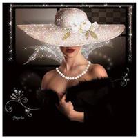 malerei elegant großhandel-DIY Diamant Malerei Stickerei 5D Elegante Frauen Dame Muster Kreuzstich Kristall Quadrat Unfinish Home Schlafzimmer Wand Kunst Dekor Handwerk Geschenk