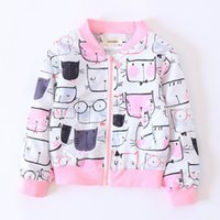 Wholesale Wholesale Animal Print Sweatshirts - Kids Jacket Autumn Children Sweatshirts Print Clothing Baby Tops Cotton Zipper Casual Coat Boys Girls Clothes 3-8Y