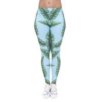 leggings azul verde al por mayor-Leggings de mujer Green Jungle Leaf 3D Graphic Print Girl Stretchy Tight Capris Sky Blue Yoga Wear Lápiz Pantalones Gym Fitness Pantalones (J40566)
