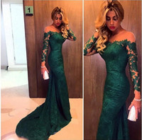 Wholesale Long Sleeves Mesh Prom Dresses - Cheap Emerald Green Evening Dresses 2017 Off Shoulder Long Sleeves Lace Mermaid Illusion Mesh Top Sweep Train Prom Dresses Evening Gowns