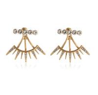 Wholesale silver ear jacket resale online - Fashion Ear Jackets Womens Jewelry Eyelash Style Ear Wraps Goldr Plated Rhinestone Back Hanging Stud Earrings Ear Jackets