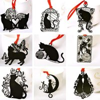 5pcs / lot sveglio bello supporto del metallo segnalibro Black Cat libro per libro di carta regalo creativo cancelleria Premio libero di trasporto regalo