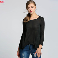 Wholesale Cheap Dolman Tops - High Street Casual T-shirts Irregular Shirts Cut Out Women Blouse Tees Long Batwing Sleeve Cheap Clothes New 2016 Autumn Tops Black SV000992