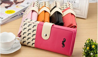 Wholesale growing fashion - 2017 Fashion wallet lady's hand Grow a beard clasp wallet mobile phone packages Han women's Coin Purses wholesale handbags