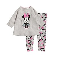 Wholesale Cute Underwear For Baby Girls - cute baby kids pajamas set lovely cartoon minnie daisy duck sleepwear set for 1-8yrs children boys girls underwear night clothes
