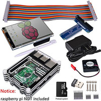 Wholesale raspberry pi heat sink - Freeshipping Raspberry Pi 3 2 Complete Starter Kit with USB Adapter+3.5 inch Touch Screen+16GB+Case+Power Supply+GPIO Board + Fan+ Heat Sink