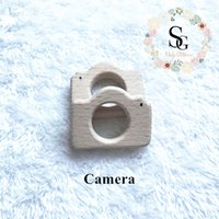 Wholesale pc camera toy for sale - 10 Natural Wood Teether camera teether High Quality Untreated beech camera teether baby toy wood camera teether