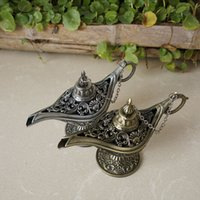 Wholesale Vintage Bronze Lamps - Vintage Aladdin Genie Lamp Retro Ornaments Alloy Crafts Size Small Home Decoration Wedding Gift Antique Pewter Bronze Color