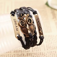 Wholesale hand chain bracelet for men - Wholesale- New Retro Adjustable Multilayer Hand-woven Leather Bracelet Owl Braided Rope Chain Wristband Alloy Fashion Jewelry For Men Women