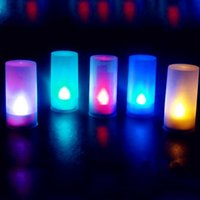 Wholesale Color Mood Light - Wholesale- New Arrival 7-color LED Electronic Flameless Switch Candle Yellow Color Night Light With Cup Mood Lamp Home Decor Accessory