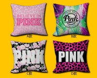 Wholesale Pink Pillow Cover VS Leopard Flower Home Office Decor Cushion Cover Decorative Pillowcase Double sided Printing Pillow Case free ship