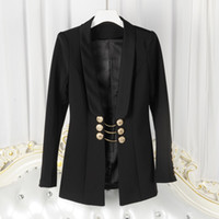 Women original breast - new with label and tag Brand BTop Quality Original Design Women s Ladies Females Swallowtail gold chain jacket Blazer outwear Metal Buckle