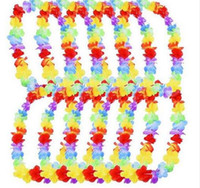 Wholesale Fun Necklaces - 500pcs Hawaiian leis Party Supplies Garland Necklace Colorful Fancy Dress Party Hawaii Beach Fun Free Shipping