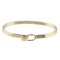 Wholesale Create Bracelets - Gold-Color Silver Color Bracelet and Bangles Bijoux For Women Created Pulseira Ouro Solid Lock Bangle