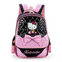 Wholesale Schoolbag Animals - Hello Kitty Primary School Backpack For Girls Fashion School Bag Children Lovely Bookbag kids Schoolbag Mochila escolar Rucksack