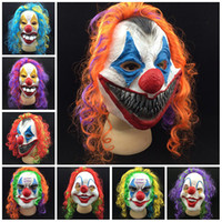 Wholesale Wholesale Clown Accessories - Halloween Mask Latex Funny Clown Wry Face Scary Vizard Masks Red Nose Party Accessory Hot Sale 10gn B R