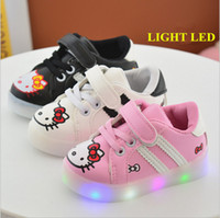 Wholesale Cute Kids Shoes Cheap - Wholesale cheap cute cat shoes kids girl 2017 autumn fashion casual shoes lights children rubber flat platform pink white black