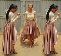 prom kleider größe 12 hoch niedrig großhandel-High Low Pink Abendkleid bella naija Brautjungfer Kleider 2017 Spitze Top hochzeit Gast Kleider Langarm Plus Size Abendkleider