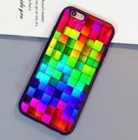 Wholesale Iphone 4s Case Rainbow - Blocks Rainbow 3d Graphics Background Mobile Phone Cases For iPhone 6 6S Plus 7 7 Plus 5 5S 5C SE 4S Back Cover