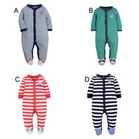 Neonati maschili pipistrelli Footies Rompers Onesies manica lunga 15 disegni nuovamente 0-1 Y Infante Primavera Autunno Little All Star Fox Puppy Dinosauro Granchio
