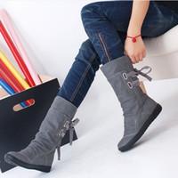 Wholesale Flats Fur Inside - Wholesale-Elegant New Fashion Women Autumn Winter Boots Mid-Calf Solid Flat With PU Boots Warm Fur Inside Ladies Shoes Big Size 34-43