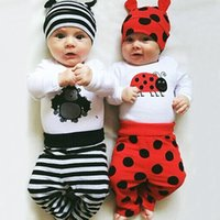 Wholesale Infants Rompers Baby Animal - ins bay girls kids 3pcs suit Newborn Infants Baby Boys Girls Rompers +Long Pants +Hats cartoon Outfits Set Clothes animal pinting cloth